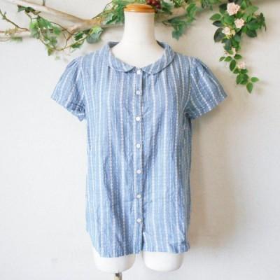 ドゥファミリィ Do!Family 柄 ストライプ の 可愛い 半袖 シャツ ブラウス 日本製 M