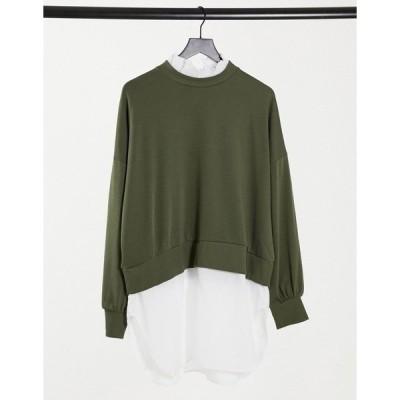 ノイジーメイ レディース パーカー・スウェットシャツ アウター Noisy May sweater with shirt trim in khaki Khaki