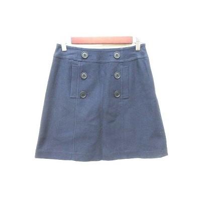 【中古】ナチュラルビューティーベーシック NATURAL BEAUTY BASIC 台形スカート ミニ S 紺 ネイビー /YK レディース 【ベクトル 古着】