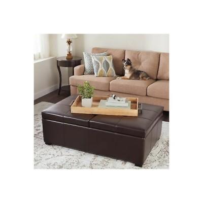 インテリア インポート アンティーク オットマン フットスツール プーフ Dark Brown Bonded Leather Double Flip-Top Storage Ottoman Cushioned Coffee Table