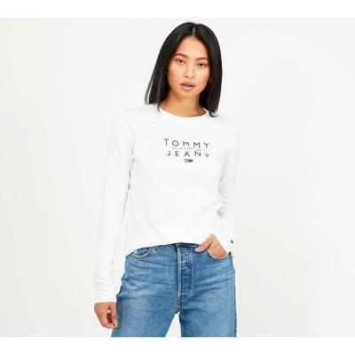 トミー ジーンズ Tommy Jeans レディース 長袖Tシャツ トップス essential logo long sleeve t-shirt White