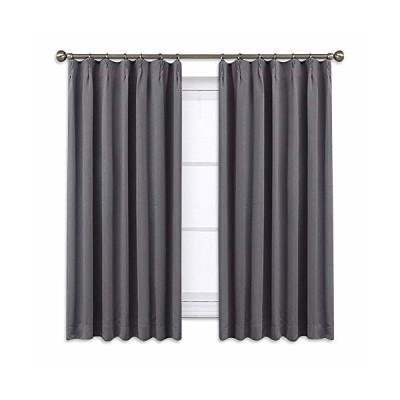 NICETOWN カーテン 遮光 1級 断熱 防寒 幅100cm丈110cm グレー 2枚セット 省エネ 冷暖房の効率アップ 防音 カフェー