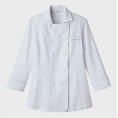 フェミニンなデザインが魅力の清潔感のある衿付き 【レディスコックシャツ】