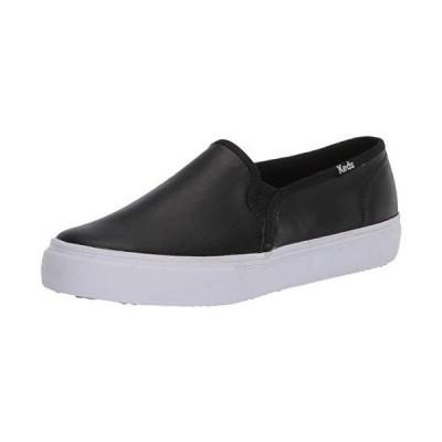 Keds Women's Double Decker Slip on Sneaker, Black Leather, 8【並行輸入品】