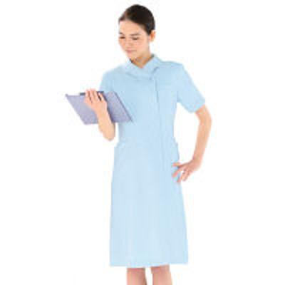 KAZENKAZEN ワンピース半袖 (ナースワンピース) 医療白衣 サックスブルー(水色) 3L 004-21(直送品)