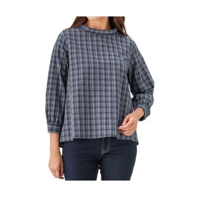 (MAC HOUSE(women)/マックハウス レディース)Navy プチハイネックシャツ 132-8445/レディース ネイビー×チェック