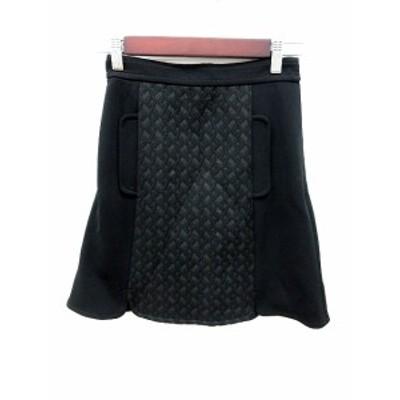 【中古】アプワイザーリッシェ Apuweiser-riche スカート 台形 ミニ 刺繍 0 黒 ブラック /RT レディース