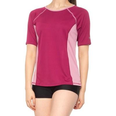 スピード Speedo レディース ラッシュガード トップス 水着・ビーチウェア Color-Block Swim Shirt - UPF 50+, Long Sleeve Raspberry Radia