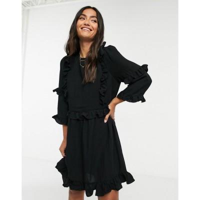 インザスタイル ミディドレス レディース In The Style x Lorna Luxe frill detail skater dress in black エイソス ASOS ブラック 黒