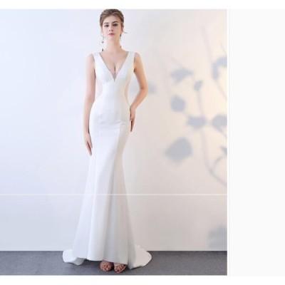 パーティードレス タイトワンピース Vネック ノースリーブ レディース ワンピ ウェディングドレス イブニングドレス 結婚式 二次会 お嬢様 オシャレ かわいい