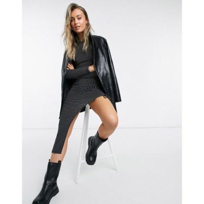 トップショップ Topshop レディース ワンピース ミドル丈 ワンピース・ドレス Ruched Midi Dress In Polka Dot ブラック