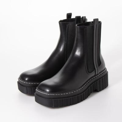 【再入荷】【2020 WINTER】ステッチトリム プラットフォームチェルシーブーツ / Stitch Trim Platform Chelsea Boots (Black)