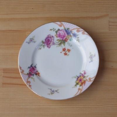 ヴィンテージ食器Epiag エピアグ ブライダルローズ ピンク薔薇花柄 デザートプレート ケーキ皿 17cm #181129-5
