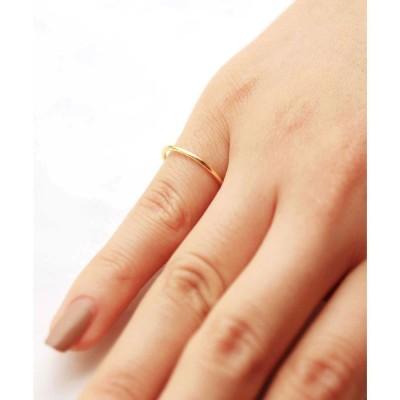 フロージュ florge 【silver925】シンプル1.2mm極細リング (ゴールド)