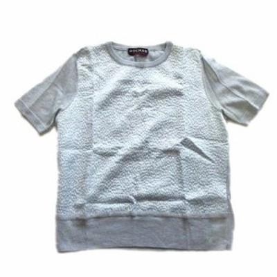【中古】ロシャス ROCHAS カシミヤ シルク 半袖 ニット セーター クルーネック ラメ 42 水色 レディース♪12