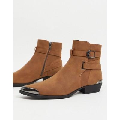 エイソス メンズ ブーツ&レインブーツ シューズ ASOS DESIGN cuban heel western chelsea boots in tan faux suede with buckle detail Tan