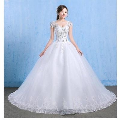 プリンセスドレス トレーン ロングドレス ウエディングドレス パーティードレス ステージ衣装 二次会 結婚式ドレス 披露宴 謝恩会 演奏会 発表会 成人式