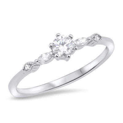 Solitaire Round White CZ Wedding Ring New .925 Sterling Silver Band Si