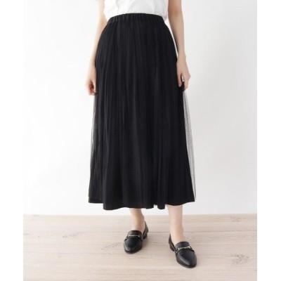 SHOO・LA・RUE/シューラルー 【M-L】リバーチュール×プリーツ2WAYスカート ブラック(019) 02(M)