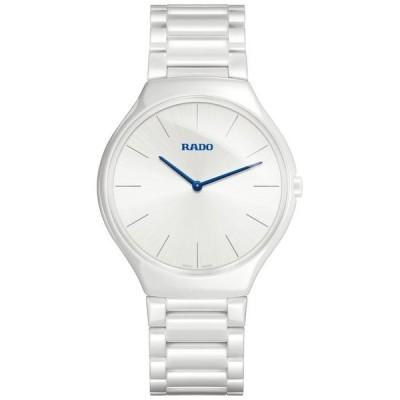 ラド レディース 腕時計 アクセサリー Unisex Swiss True Thinline White Ceramic Bracelet Watch 39mm