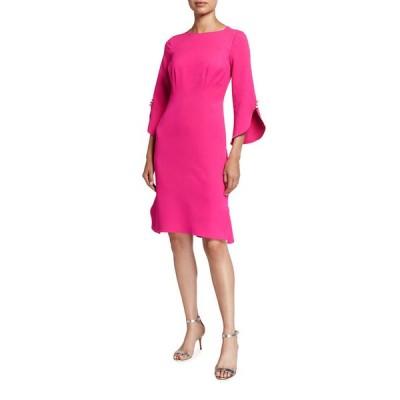 テリージョン レディース ワンピース トップス Pearl Trim Elbow-Sleeve Crepe Dress