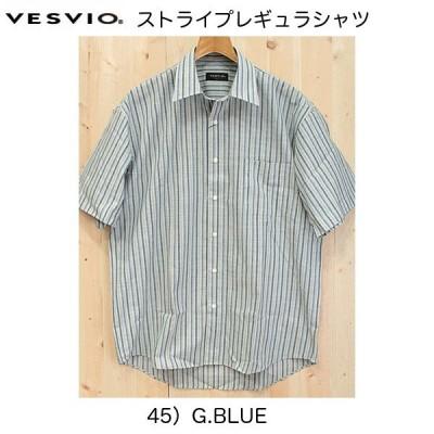 ベスビオのストライプ半袖シャツ、16-4113