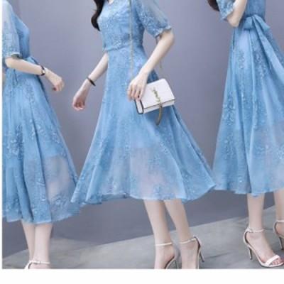 ワンピースドレス 韓国 ワンピース ドレス レディース 半袖 ミモレ丈 花柄刺繍 ウエストリボン 上品 Vネック シフォン 二次会 お呼ばれ