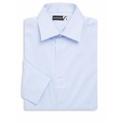 サックスフィフスアベニュー メンズ ドレスシャツ ワイシャツ COLLECTION Solid Cotton Twill Dress Shirt