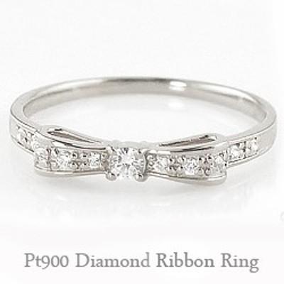 リボンリング プラチナ リボンモチーフ ダイヤモンドリング ピンキーリング Pt900 ribbon 指輪 送料無料