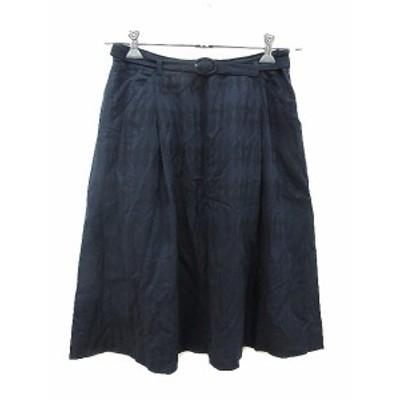 【中古】ヒューマンウーマン HUMAN WOMAN スカート フレア ひざ丈 総柄 2 紺 ネイビー /ST レディース