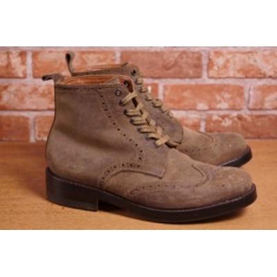 ○グレンソン GRENSON カントリーブーツ ウイングチップ ブーツ メンズ 中古