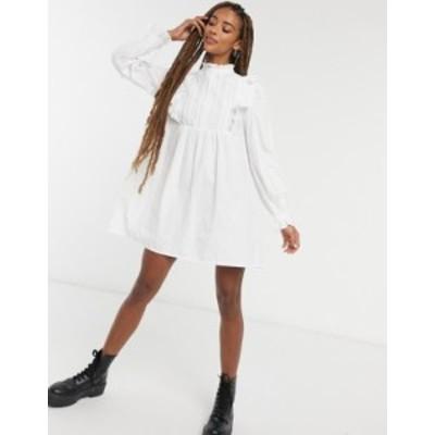 エイソス レディース ワンピース トップス ASOS DESIGN cotton trapeze mini smock dress with frill yoke detail WHITE