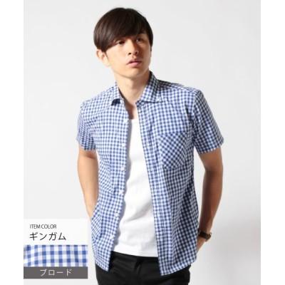【ザ カジュアル】 (アップスケープオーディエンス) Upscape Audience 日本製ワイドスプレッドボタンダウン半袖シャツ メンズ ブルー系1 XL THE CASUAL