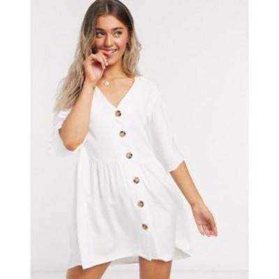 エイソス ASOS DESIGN レディース ワンピース Vネック ミニ丈 ワンピース・ドレス v neck button through mini smock dress in white ホ