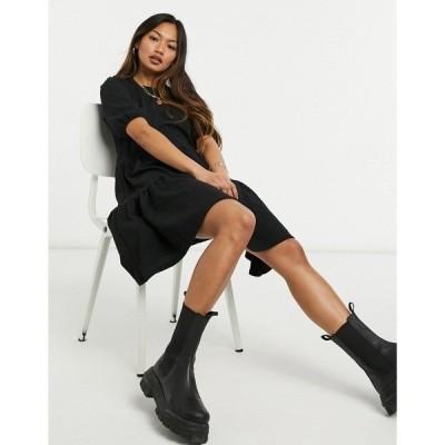 オンリー レディース ワンピース トップス Only puff sleeve smock dress in black Black