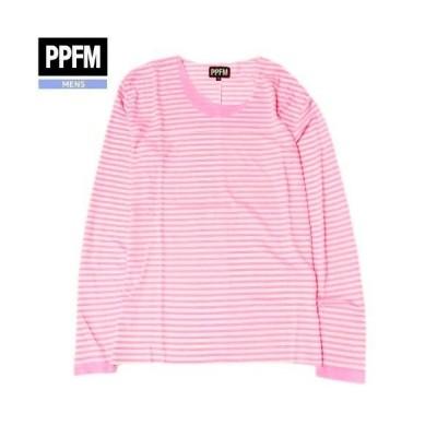 SALE大特価【PPFM】Fレイヤード フェイクレイヤード ボーダー カットソー(長袖) ピンク『20/6/1』030620(送料無料)