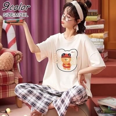 パジャマ ルームウェア レディース 春夏新作 半袖パジャマ 可愛いルームウェア 韓国風 上下セット 寝巻き ギフト オシャレ 大きいサイズ部屋着 ゆったり