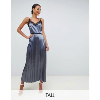 リトル ミストレス Little Mistress Tall レディース ワンピース キャミワンピ lace trim cami dress with pleated skirt in slate ダークグレー