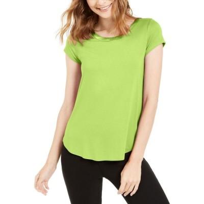 アルファニ Alfani レディース Tシャツ トップス Satin-Trim High-Low T-Shirt Lime Peel