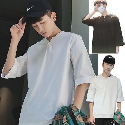 韓国 ファッション メンズ 夏 半袖 シャツ tシャツ 通気速乾 汗染み防止 薄手 柔らかい シンプル ゆったり カジュアル 着痩せ オシャレ 大きいサイズ