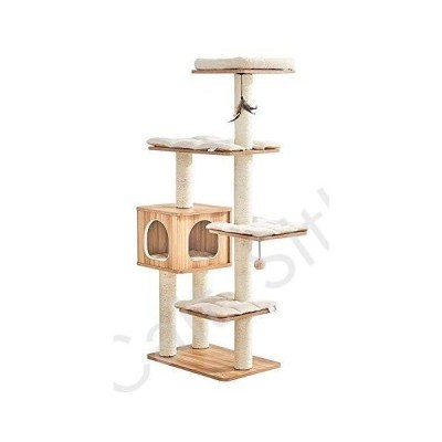 LLCC Cat Trees and Towers Cat Castle Toys, Cat Climbing Frame Wood Cat Tree Tower Multi-Layer Cat Resting Place Comfortable Pet Activity Cen