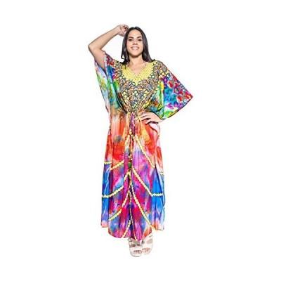レディース カジュアル ドレス Caftan MAXI Loose ドレス デジタル マルチ DRT011 US: 14 - 28W (海外取寄せ品)