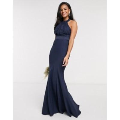 エイソス レディース ワンピース トップス ASOS DESIGN Bridesmaid halter pleated maxi dress with paneled skirt in Navy Navy