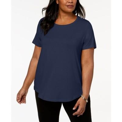 ジェイエムコレクション カットソー トップス レディース Plus Size Short-Sleeve Top, Created for Macy's Indigio Bunting