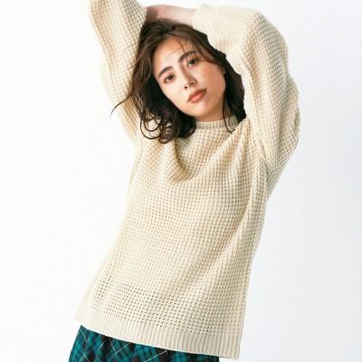 Ranan 【M~3L】ハイネックワッフル編ニット レッド M レディース