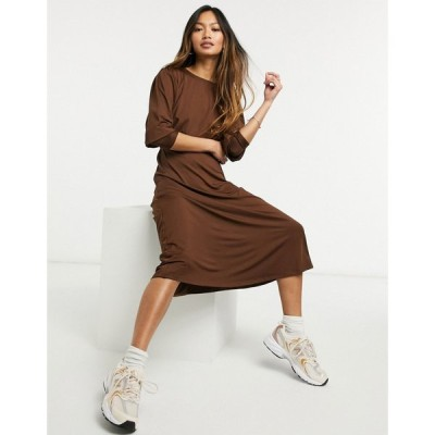 ヴェロモーダ Vero Moda レディース ワンピース ミドル丈 ワンピース・ドレス Aware Jersey Midi Dress With Deep Cuffs In Chocolate ブラウン
