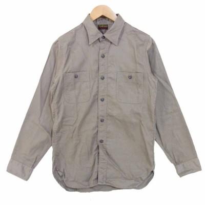 AT LAST アットラスト マチ付き ネコ目ボタン ワークシャツ 胸ポケット 長袖シャツ グレー系 14【中古】