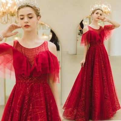 ロングドレス 花嫁 ドレス ベアトップ カラードレス 赤 パーティードレス 袖あり イブニングドレス フォーマルドレス 結婚式 二次会