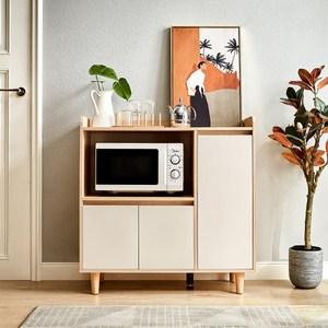 林氏木業北歐風百搭0.9M餐櫃 LS187-原木色+白色