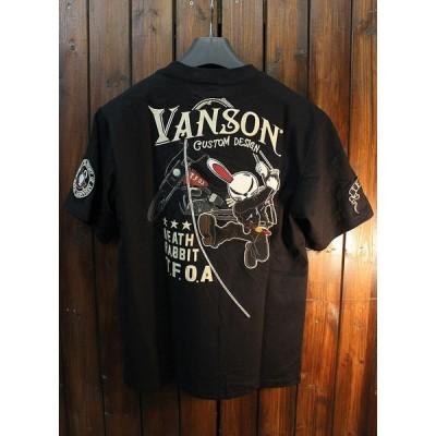 VANSON×CROWS×WORST 武装戦線 コラボ CRV-831 Vネック天竺半袖Tee デスラビットTシャツ